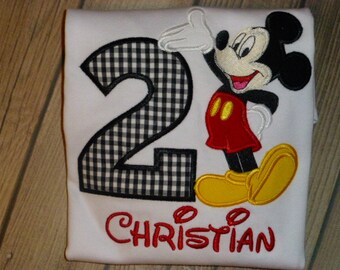 2nd Birthday Mickey Mouse Birthday Shirt or Bodysuit with Free Personalization Perfect for a Mickey Mouse Themed Birthday party