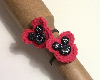 Ponytail Holders, Hair ties, Hair Accessories, Crocheted Flower Ponytail Holders