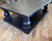 Reserved For Catherine Balance on 60x40x19 Salvage BLACK Wood Finish Balustrade Coffee Table