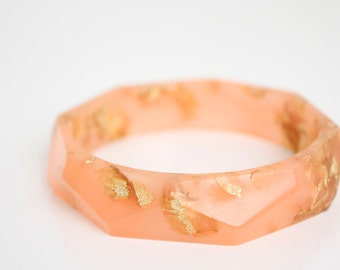 coral with gold flakes eco resin faceted bracelet bangle