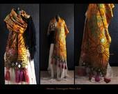wearable art shawl, art to wear clothing, plus size shawl, gypsy shawl, embroidered shawl, boho shawl, Listing for 1 CUSTOM ORDER