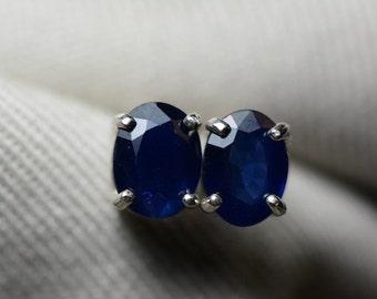 Sapphire Earrings, Blue Sapphire Stud Earrings 1.94 Carat Appraised at 950.00, September Birthstone, Natural Sapphire Jewellery, Oval Cut