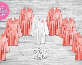 Bridesmaid Robes, Bride Satin Robe, Bridesmaid Satin Robes Satin Robes Bridesmaid Satin Robes, Kimono Robe Plus Size Robe, Coral Pink Robes