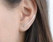 Curved Bar Pin Earrings, Sterling Silver Ear Cuff, Bar Ear Sweep, Wire Ear Wrap,Cuff Earring, Minimalistic, Hand Made, Gift for Mom, ECF004