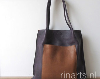 Tote bag Rinarts  in deep purple top grain Italian leather and cognac leather front pocket. Shopper with inside and outside pockets