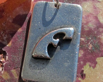 Modernist Sterling Silver Otto Robert Bade Initial F Pendant or Key Fob