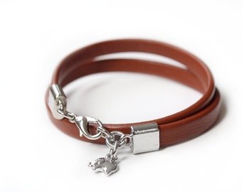 Minimalist Silver Lucky Elephant Charm Leather Bracelet, Brown Leather, Original the LUCKY ELEPHANT Design, Soft Leather