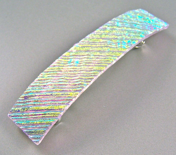 "Dichroic Barrette - Clear Gold Golden Yellow Diamonds & Ice Textured Ripple Waves Fused Glass  - 3.5"" / 9cm"