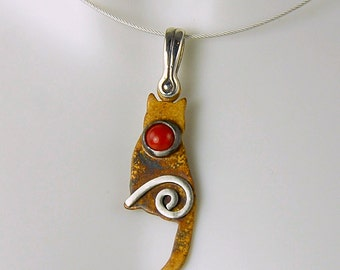 Silver Patina Cat Pendant with Bamboo Coral and Mystic Spiral, Tiny Sitting Kitty Pendant, Sterling Silver Cat Necklace, Red Coral