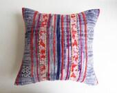 Thai Batik Hmong Throw Pillow - Floral Boho Pillow with Neon - Vintage Artisan Textile