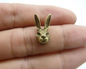 30pcs 5x9x15mm Antique Bronze Mini Buck Rabbit Head Charms Pendant c8354