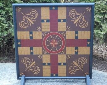 "25"", Parcheesi, Game Board, Folk Art, Hand Painted, Wood, Game Boards, Wooden, Board Game, Hand Painted"