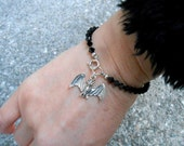 VALENTINE'S DAY Sale! From 26.00 to 18.99~ Sterling Silver Bat on Swarovski Jet Crystal Beads Bracelet, Handmade Jewelry in NYC