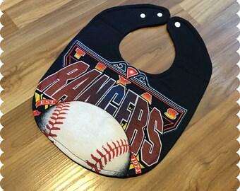 Texas Rangers Baseball Baby Bib, Sports Baby Boy Gift, Recycled T-Shirt Baby Bib, Baby Shower Gift