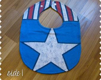 Captain America Baby Bib, Reversible Recycled T-Shirt Baby Bib, Baby Shower Baby Boy Gift, Superhero Baby