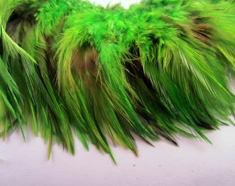 40 lime green feathers Loose saddle half bronze Dyed 3 to 5 inches  K75