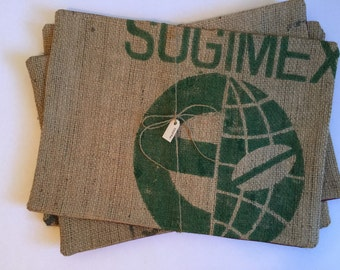 Four Piece Set Upcycled Burlap Table Placemats