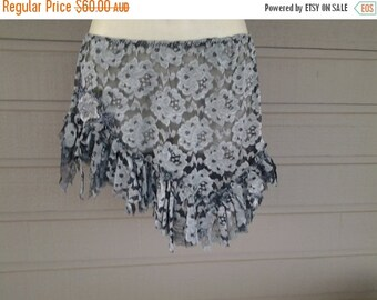 """20%OFF lagenlook bohemian gypsy pixie festival lace skirt...small to firmer 34"""" hips or waist...."""