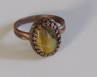 Ring -  Copper Metal Band and Setting - Tiger Eye  Bead - Oval Bead - Prong Set