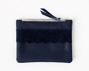 Xmas in July SALE Scallop Detail Navy Blue Leather Pouch, bridesmaid gift, party No. ZPsL-201