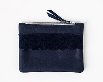 Scallop Detail Navy Blue Leather Pouch, bridesmaid gift, party No. ZPSL-201