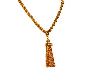Vintage Monet Necklace, Bohemian Tassel, 1960s