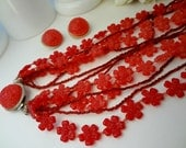 Cherry Red Necklace and Matching Clip Earrings / Very Light Weight Vintage / Fun Bright Colors / HONG KONG / Layered Jewelry