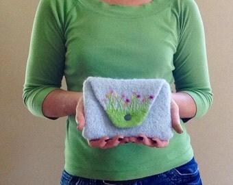 Wool Felted Clutch / Large Snap Wallet / Pouch / Bag Insert / Handbag / Flower Garden - MADE TO ORDER