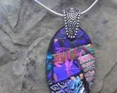 Pink and Purple Necklace Dichroic Glass Pendant Rainbow Dichroic Jewelry