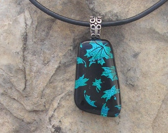 Autumn Leaves Pendant  Fused Dichroic Glass Green Leaf Necklace