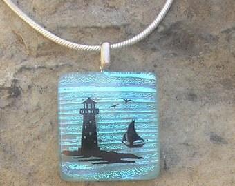 Lighthouse Pendant Dichroic Glass Lighthouse Necklace