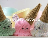 CROCHET PATTERN-Dropped Ice Cream Cone