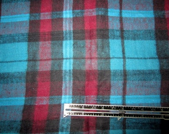 Flannel Fabric Raspberry Turquoise Black.  Raspberry Pink and Tuquoise Plaid Shirt Flannel.  LAST PIECE