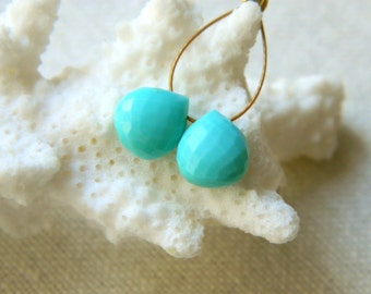 Matched pair of Rare focal AAA Sleeping Beauty Turquoise microfaceted heart briolettes beads 7.5mm x 7.5mm