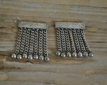 Vintage - Masonic regalia - Freemasons - Apron tassels - Pair - Two - Silver