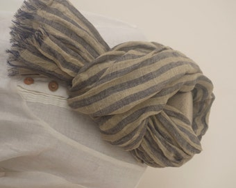 Linen Scarf with Stripesl blue & natural color-Natural-Pure Linen-stripe