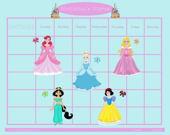 PRINTABLE Personalized Kids Chore Chart -  Princesses - Printable Jpeg or PDF
