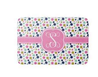 Personalized Bath Mat, Monogram Comfort Mat, Polka Dots Teen Bath Rug, Custom Mat, Bathroom Decor, Monogram Shower Gift