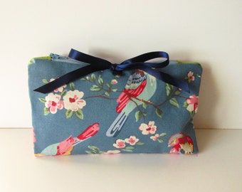 Make Up Bag Zipper Pouch Bird Floral with Brushes Section