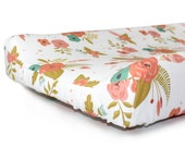 Floral changing pad cover- BROOKLYN BLOOMS- baby girl bedding- floral crib bedding- peach baby bedding