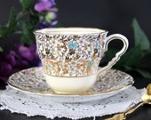 Royal Stafford Cup and Saucer, Bone China,  Gilt Chintz Teacup, English Tea Set 13329