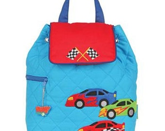 Stephen Joseph quilted racer race car toddler backpack personalized monogrammed