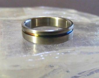 Size 7 Titanium offset Rainbow Solstice Ring Wedding Band