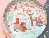 Woodland Friends Personalised Baby Girl Birth Plate