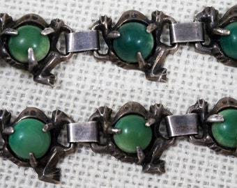 1940's Mexico Sterling Silver Green Jade Calcite Frog Link Bracelet – Pre Eagle