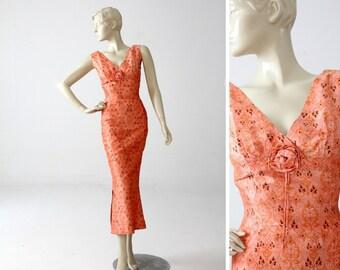1960s Asian style maxi dress, peach floral satin long dress