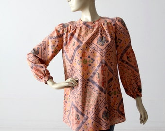 vintage 70s boho blouse, Rene Kasmet California print top with pockets, long sleeve shirt