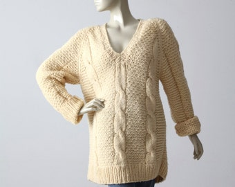 vintage v-neck oversize sweater, cable knit chunky sweater