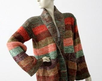vintage 70s hippie cardigan, striped knit sweater
