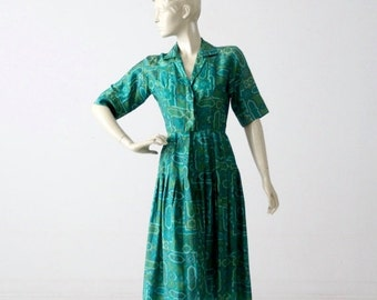 SALE 1950s silk dress by Jerry Gilden, vintage 50s shirt dress
